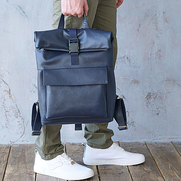 Bags and accessories handmade. Livemaster - original item Backpack leather men`s