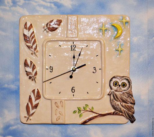 Часы для дома ручной работы. Ярмарка Мастеров - ручная работа. Купить Часы Совушкины часики. Handmade. Керамика, часы, для гостиной