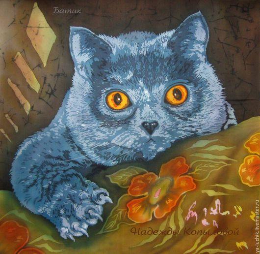 Картина шёлковая, интерьерное панно, роспись на шёлке, домашние животные, кошка. Картину шёлковую купить. Роспись на шёлке, батик. Ярмарка мастеров, ручная работа.