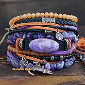 Украшения handmade. Livemaster - original item Leather bracelet with boho style stones