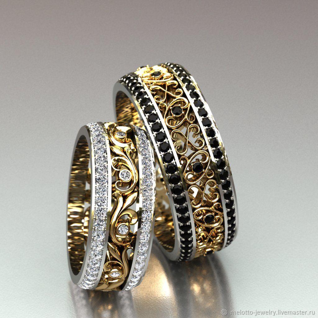 28d5c9f4e943 ... чёрными и белыми бриллиантами. Свадебные украшения ручной работы.  Ярмарка Мастеров - ручная работа. Купить Ажурные обручальные кольца с