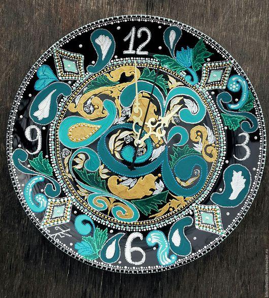 """Часы для дома ручной работы. Ярмарка Мастеров - ручная работа. Купить Часы """"День - Ночь"""". Handmade. Тёмно-бирюзовый"""