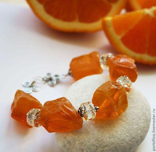 """Браслеты ручной работы. Ярмарка Мастеров - ручная работа. Купить браслет из серебра, кварца и цитринов """"Апельсиновый"""". Handmade. Рыжий, ябркийбраслет"""