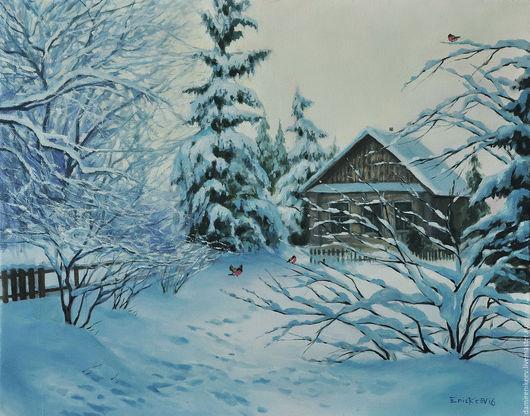 """Пейзаж ручной работы. Ярмарка Мастеров - ручная работа. Купить Картина маслом на холсте пейзаж """"Зимний день"""". Handmade."""