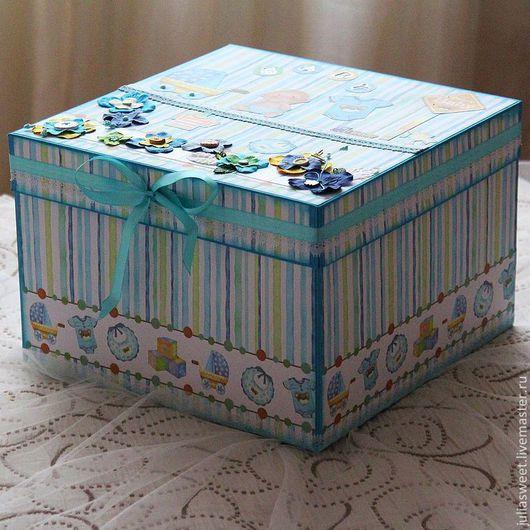 """Подарочная упаковка ручной работы. Ярмарка Мастеров - ручная работа. Купить Большая коробка """"Наш малыш"""". Handmade. Тёмно-бирюзовый"""