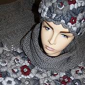 Аксессуары ручной работы. Ярмарка Мастеров - ручная работа Вязаная шапочка-кубанка с ручной вышивкой Магия серого цвета. Handmade.