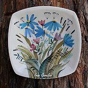 """Посуда ручной работы. Ярмарка Мастеров - ручная работа Декоративная керамическая тарелка """"Полевые цветы"""". Handmade."""