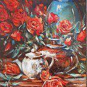 """Картина маслом """"Натюрморт с алыми розами""""40х60 (цветы,подарок )"""