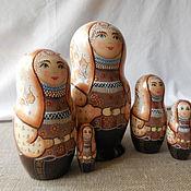Русский стиль handmade. Livemaster - original item Matryoshka five-seater.The girl in the costume of Arkhangelsk province.. Handmade.