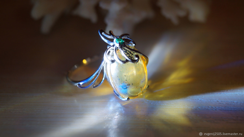 Кольцо с голубым янтарем, Кольца, Нижний Новгород,  Фото №1