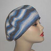 Аксессуары ручной работы. Ярмарка Мастеров - ручная работа Голубой летний берет микрофибра Blue summer beret. Handmade.