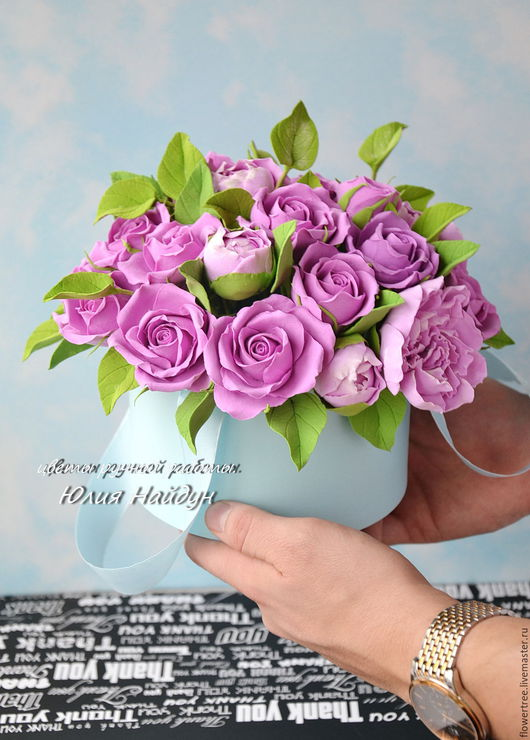 Интерьерные композиции ручной работы. Ярмарка Мастеров - ручная работа. Купить Цветы в  шляпной коробке (полимерная глина). Handmade.