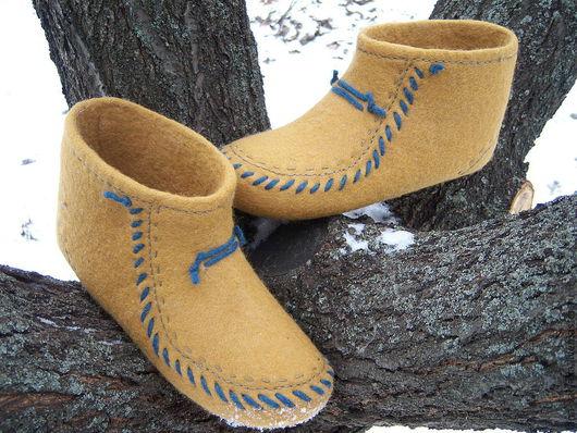 """Обувь ручной работы. Ярмарка Мастеров - ручная работа. Купить войлочные тапочки """"Горчица"""". Handmade. Оранжевый, войлочные тапочки"""