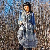 Платья ручной работы. Ярмарка Мастеров - ручная работа Зимнее БОХО платье из ангоры и мохера с кружевом (62). Handmade.