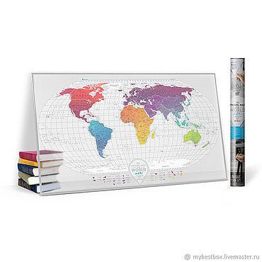 Diseño y publicidad manualidades. Livemaster - hecho a mano Scratch map Travel map Air World. Handmade.