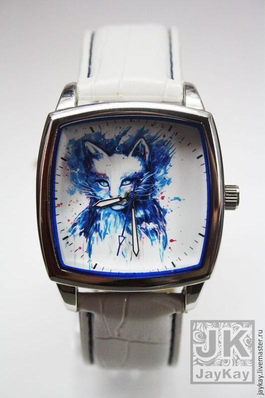 """Часы ручной работы. Ярмарка Мастеров - ручная работа. Купить Часы наручные JK """"Снежный кот"""" в единственном экземпляре. Handmade."""