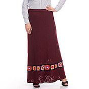 Одежда ручной работы. Ярмарка Мастеров - ручная работа Юбка длинная шерстяная бордо с вязаной тесьмой. Handmade.