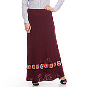 Одежда handmade. Livemaster - original item Long wool skirt Burgundy with knitted braid. Handmade.