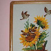 Картины и панно ручной работы. Ярмарка Мастеров - ручная работа Подсолнухи и воробьи. Handmade.
