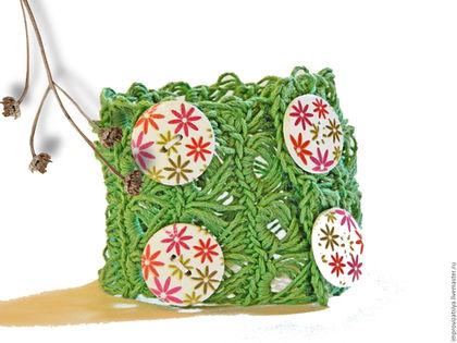 Браслеты ручной работы. Ярмарка Мастеров - ручная работа. Купить Женский браслет на пуговицах Лесной брумстик. Handmade. Зеленый