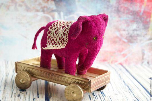 Игрушки животные, ручной работы. Ярмарка Мастеров - ручная работа. Купить Ретро игрушка Слон на деревянной тележке. Handmade. Фуксия