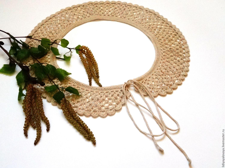 collar buy, collar lace, collar, fishnet, collar, crochet, buy a Lacy collar, collar, handmade collar, dress, spring, birch color.