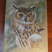 Картины ручной работы. Ярмарка Мастеров - ручная работа Картины: Филин в лесу. Handmade.