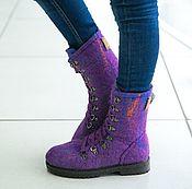 Работы для детей, handmade. Livemaster - original item Felted boots for girls Northern lights. Handmade.