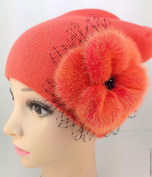 """Шапки ручной работы. Ярмарка Мастеров - ручная работа. Купить Шапка-бини """"Оранжевый"""". Handmade. Ярко-красный, шапка с цветком"""