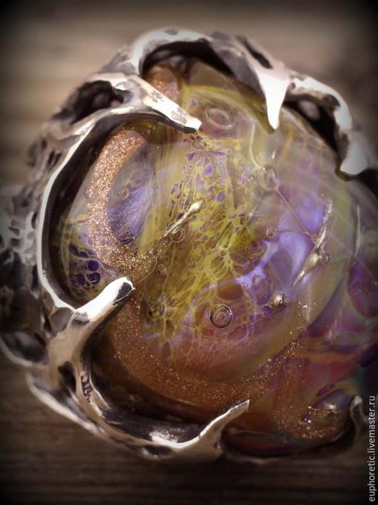 """Кольца ручной работы. Ярмарка Мастеров - ручная работа. Купить """"Атлас Вселенной"""" авторское серебряное кольцо лэмпворк. Handmade. Разноцветный"""