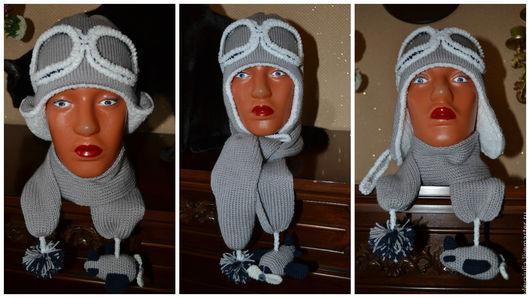 """Одежда для мальчиков, ручной работы. Ярмарка Мастеров - ручная работа. Купить Комплект """"Пилот"""". Handmade. Серый, шапка детская"""
