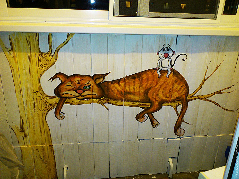 Роспись стены балкона рыжий кот - купить в интернет-магазине.