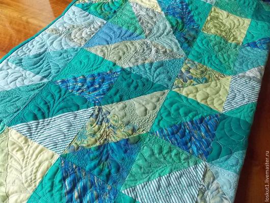 Текстиль, ковры ручной работы. Ярмарка Мастеров - ручная работа. Купить Лоскутное покрывало Свет и тень. Handmade. Бирюзовый, пэчворк