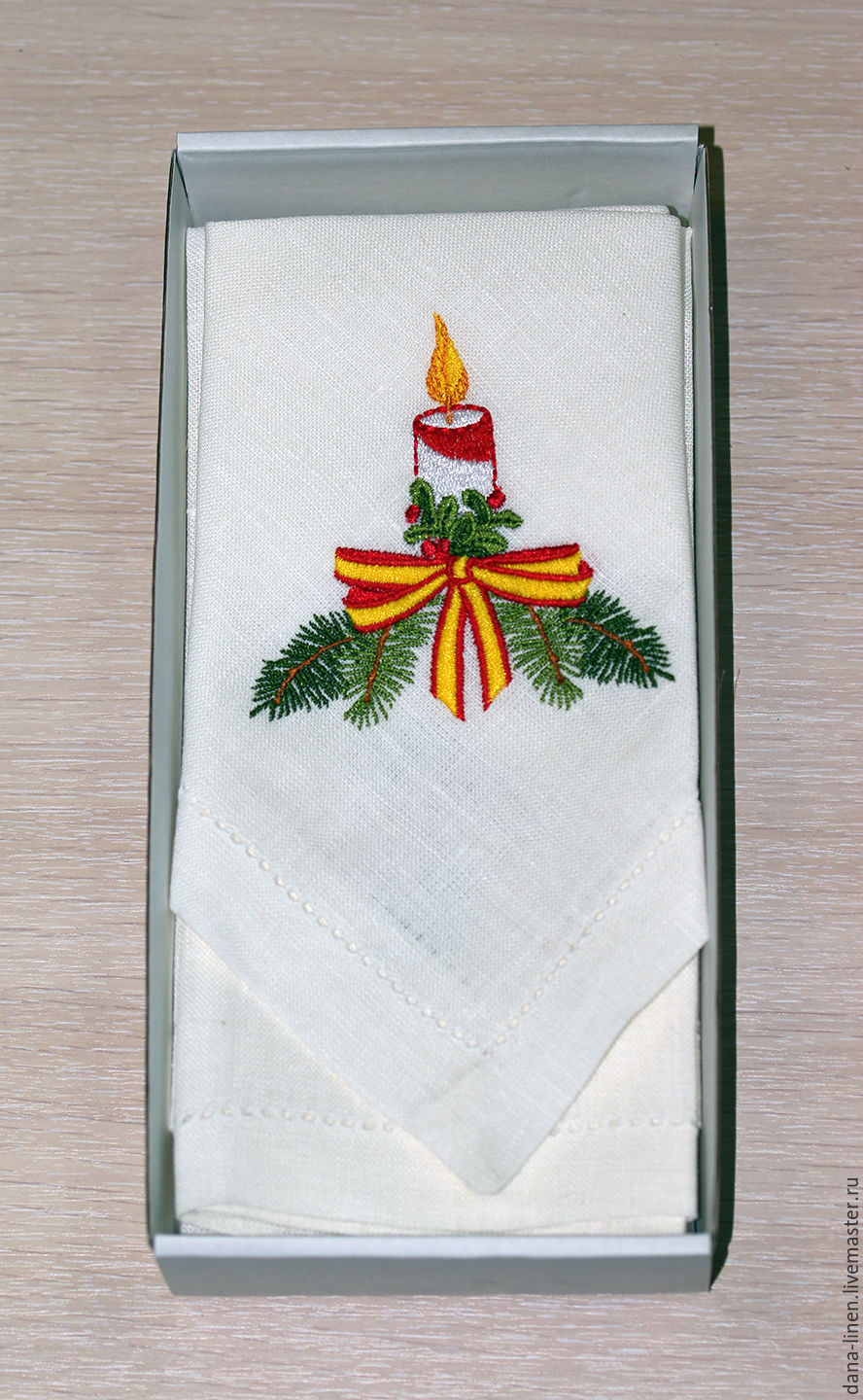 Linen napkins 'Christmas candle' Kit, Candles, Moscow,  Фото №1