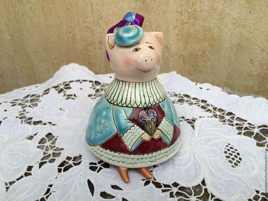 """Колокольчики ручной работы. Ярмарка Мастеров - ручная работа. Купить Колокольчик """" Свинка"""". Handmade. Голубой, колокольчик купить, глазури"""