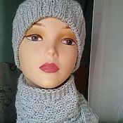 Аксессуары ручной работы. Ярмарка Мастеров - ручная работа комплект вязаный шапочка, шарф, варежки из акрила. Handmade.