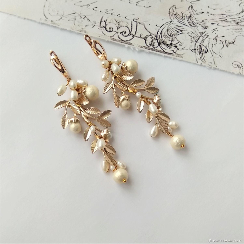 Earrings for the bride for the wedding are long, wedding earrings, Earrings, Tomsk,  Фото №1
