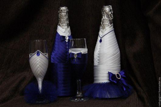Украшения для бутылок с шампанским на паздничный стол. 1000р