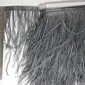 Материалы для творчества handmade. Livemaster - original item Trim of ostrich feathers 10-15 cm dark gray. Handmade.