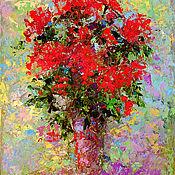 """Картины и панно ручной работы. Ярмарка Мастеров - ручная работа """"Цветы в Высокой Вазе"""" - картина маслом. Handmade."""