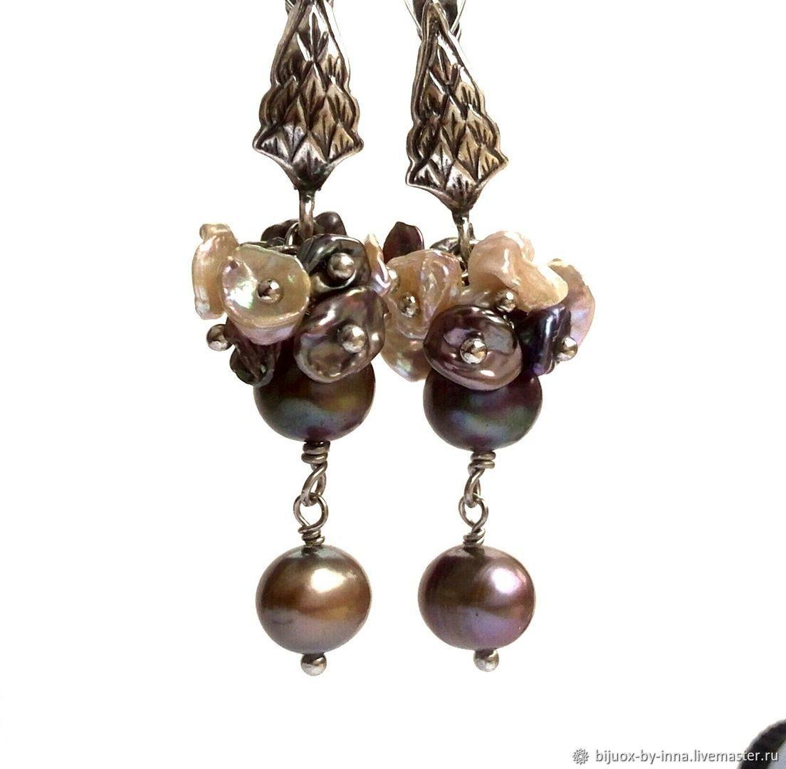 Pearl earrings. Earrings bunches with Keshi pearls, Earrings, Permian,  Фото №1