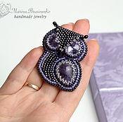 Украшения handmade. Livemaster - original item A beaded brooch Owl purple amethyst. Handmade.