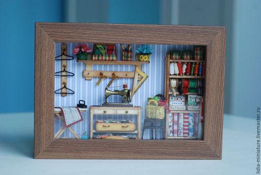 """Кукольный дом ручной работы. Ярмарка Мастеров - ручная работа. Купить Румбокс """"Швейный"""". Handmade. Румбокс, фоторамка, украшение для интерьера"""