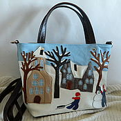 Сумки и аксессуары handmade. Livemaster - original item Bag leather women`s Bag with applique Winter village. Handmade.