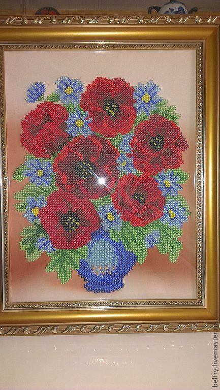 Картины цветов ручной работы. Ярмарка Мастеров - ручная работа. Купить Вышивка из бисера ручной работы, ваза с цветами.. Handmade.