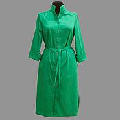 Одежда ручной работы. Ярмарка Мастеров - ручная работа Модель 12-86 - платье-рубашка  из плотной ткани хлопок-сатин. Handmade.