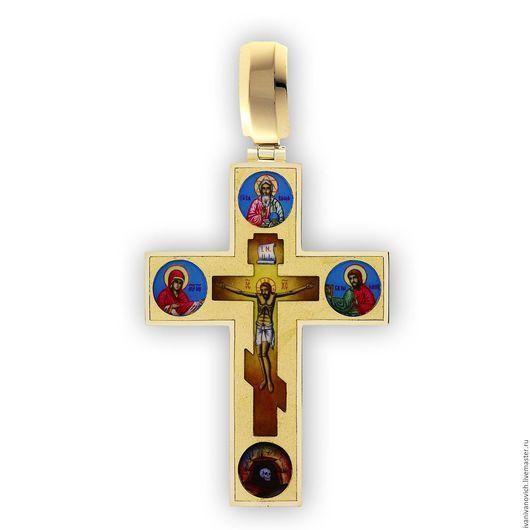 Украшения для мужчин, ручной работы. Ярмарка Мастеров - ручная работа. Купить Крест с предстоящими. Handmade. Золотой, нательная икона