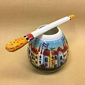 Посуда handmade. Livemaster - original item Calabash Morning in Venice with Bombilla porcelain (hand painted). Handmade.