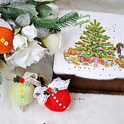 Подарки к праздникам handmade. Livemaster - original item Christmas set of balls in a box,