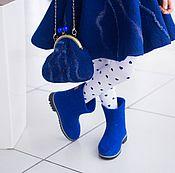 Работы для детей, ручной работы. Ярмарка Мастеров - ручная работа Валяные полусапожки для девочек Синее настроение. Handmade.